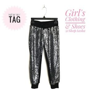 🆕w/tag Girl's Sequin Joggers Pants Black Silver